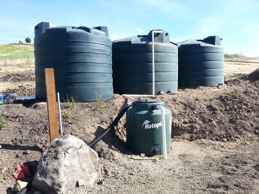 13,000 gallon system collecting rainwater from a greenhouse with sump tank