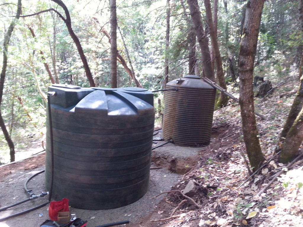 Water tank storage for a spring system
